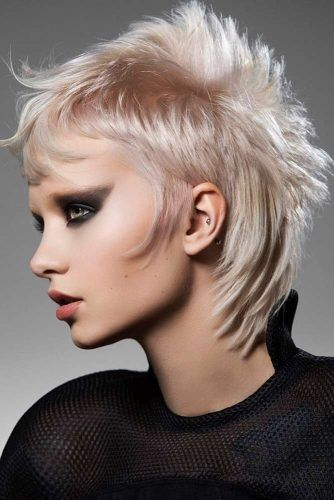 Blonde Mullet Haircut With Baby Bangs #babybangs #hairstyles #haircuts