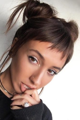 Space Buns Different Hairstyles With Baby Bangs #babybangs #hairstyles #haircuts #spacebuns