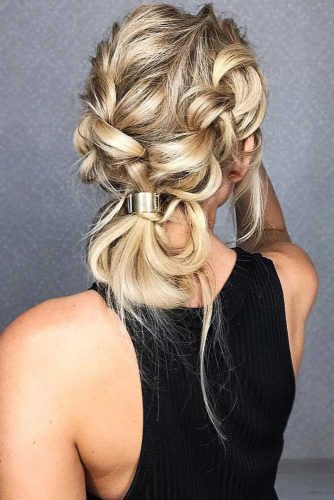 Dutch Double Braids Into Messy Buns #braids #bun