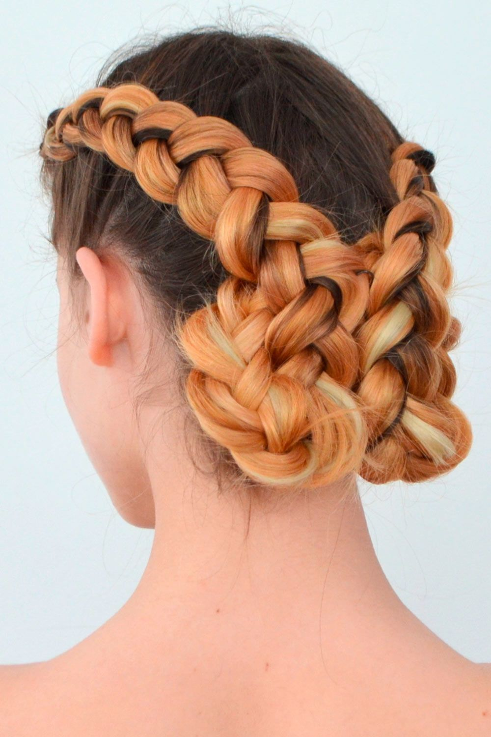 Double Braided Updo With Long Hair