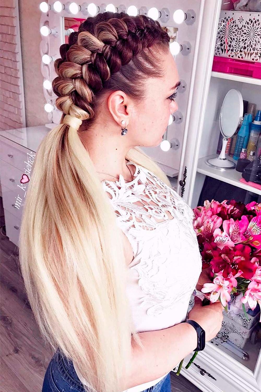 Blonde Braids Into Ponytails