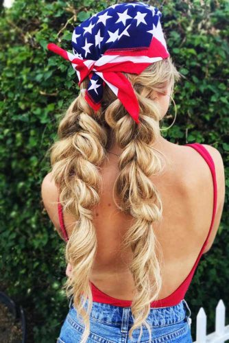 Double Braids With Head Accessories Pigtails #braids