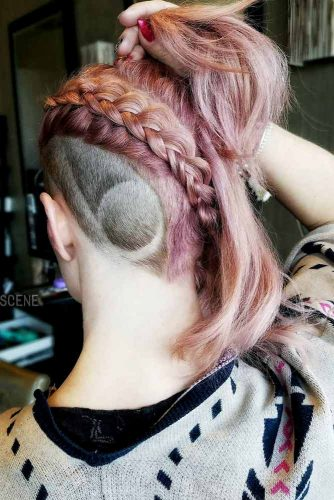 Faded And Braided Hairstyle Medium Hair #fadehaircut #undercut #haircuts #braids #rosehair