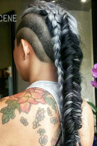 Faded And Braided Hairstyle Braids #fadehaircut #undercut #haircuts #braids #silverhair