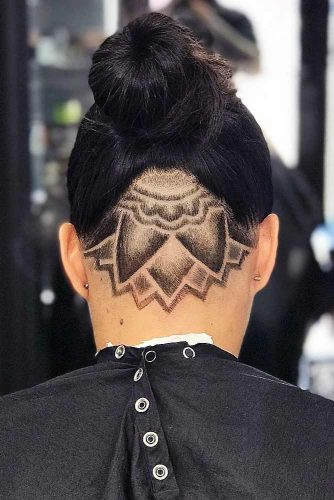 Nape Design To Amaze Your Friends Black Bun #fadehaircut #undercut #haircuts #napedesign #blackhair