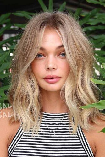 Natural Highlighted Long Bob #blondehair #blondecolor #longbob #hairstyles #blueeyes