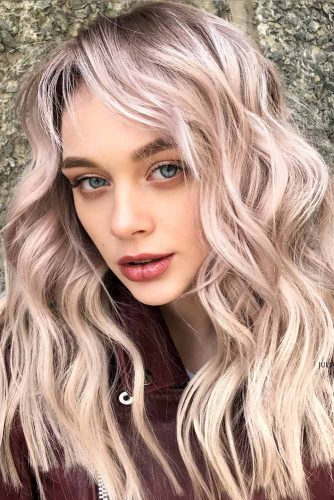 Trendy Peach Blonde Hair #blondehair #blondecolor #longhair #hairstyles #blueeyes