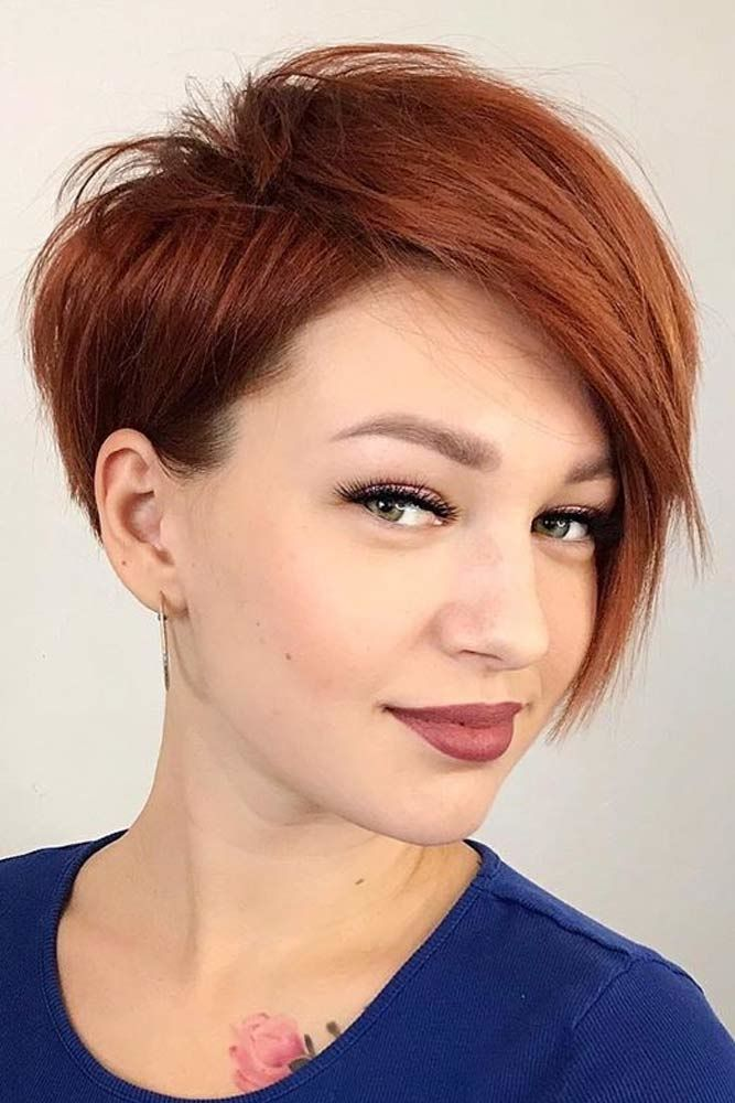Asymmetrical Auburn Pixie #hairstyles #finehair