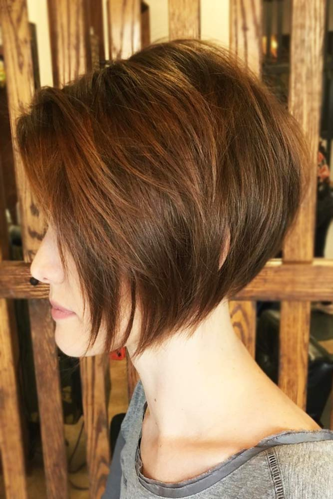Chin Length Stacked Bob Haircut #brownhair #layeredhair #shorthair #bob
