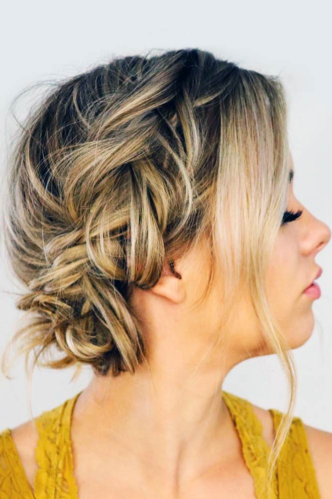 Messy Updo Halo Braid #braids #updo