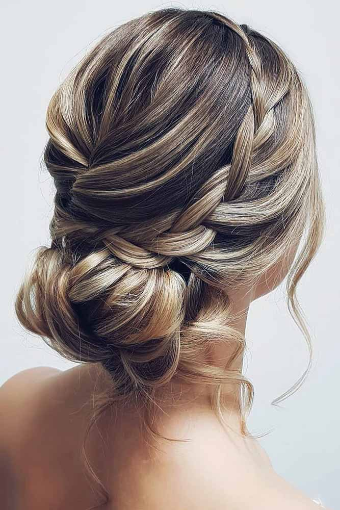 Three Strand Braids Into Low Messy Knot #updo #braids