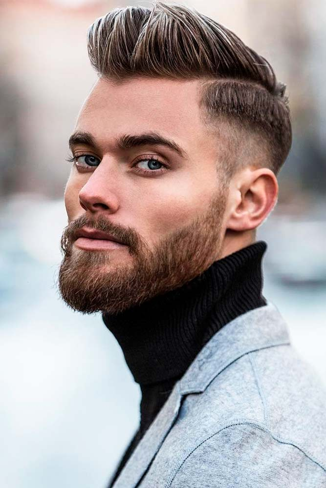Comb Over Fade Brown Color Textured Top Beard Styles