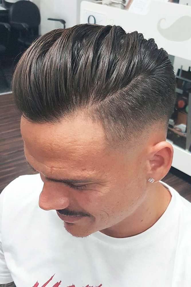 Comb Over Fade Textured Top Sleek Long Bang