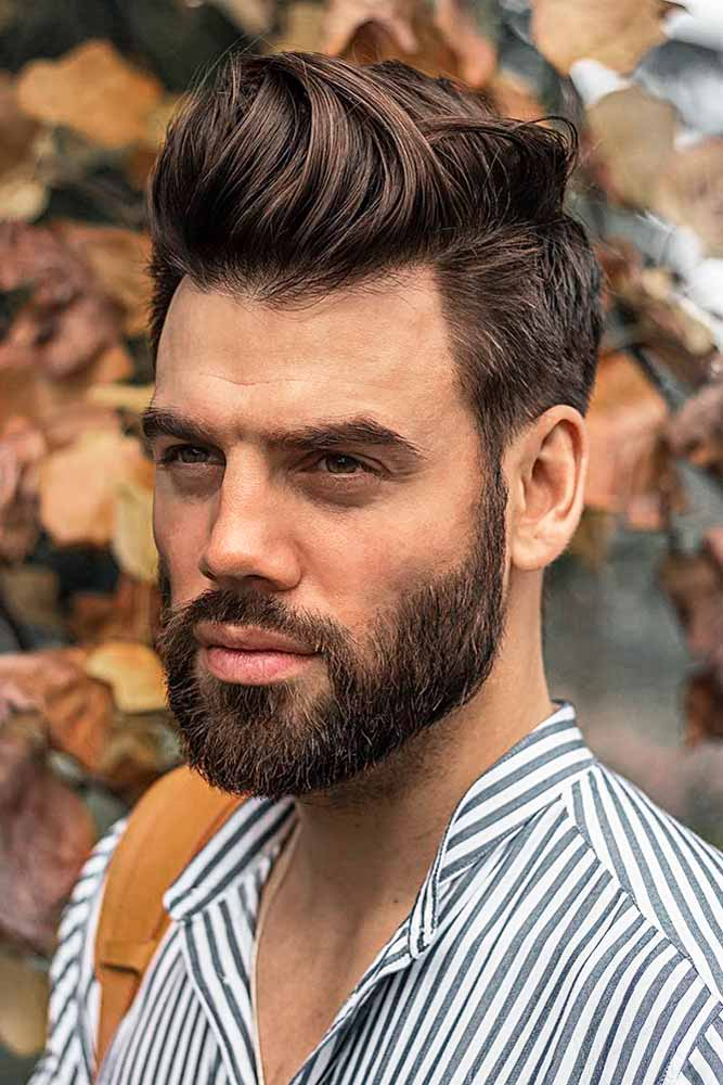 Long Comb Over Brown Color Long Top Beard Styles