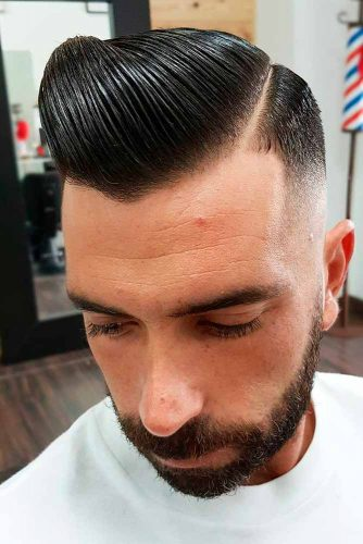 Short Comb Over Black Color Styled Back Sleek
