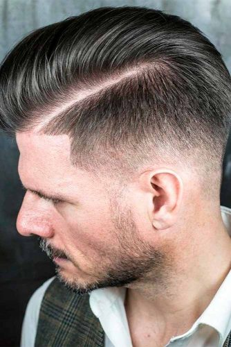 Classic Comb Over Haircuts Fade Haircut Side Part Styled Back