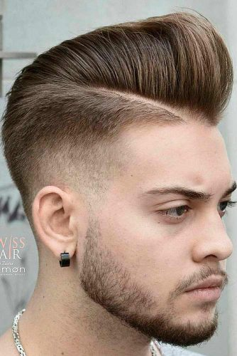 High and Low Fade Comb Over Light Brown Color High Bang