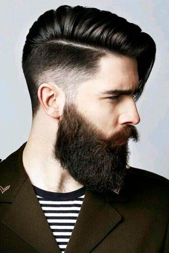 Long Comb Over Undercut Fade Long Bang Side Part Beard