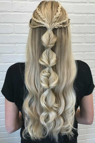 Graduation Half Up Half Down With Bubble Braid #long #braids #bubblebraids
