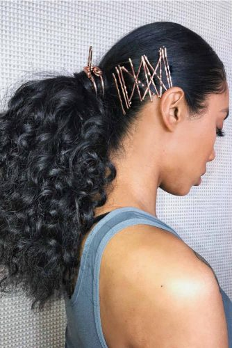 Low Ponytail With Bobby Pins #ponytail #curlyhair #blackhair #blackhairstyles