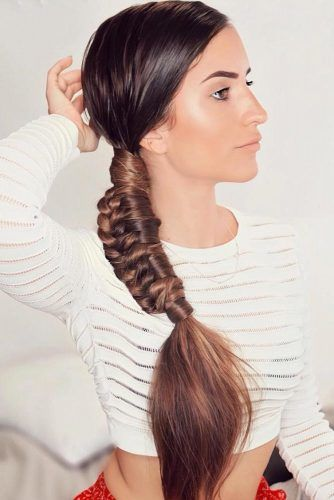 Side Braided Low Pony #braids #ponytail