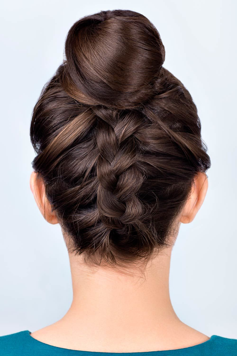 Braided Hairstyle With Hight Top Bun