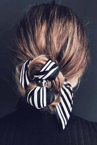 Effortless Updo With Head Scarf #easyupdo #bunhairstyles #easybun