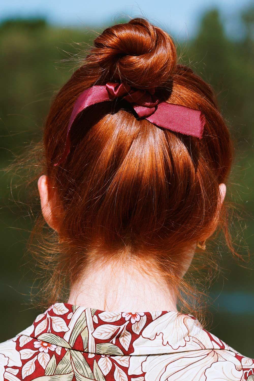 Sleek Hair Bun With Stripe