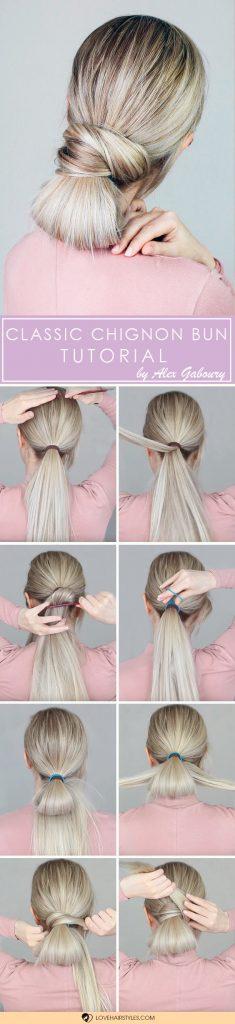 Classic Chignon Bun Tutorial #hairtutorial #chignonbun #easyhairstyles