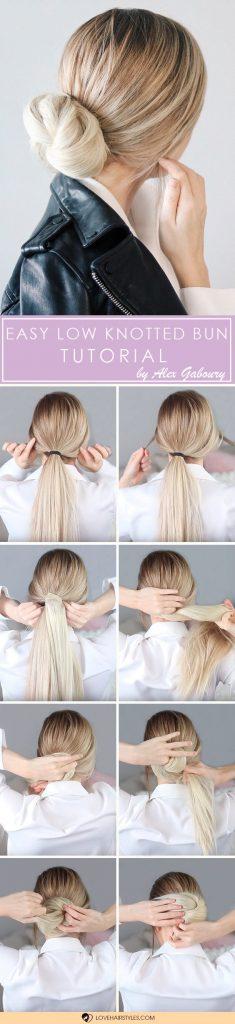Easy Low Knotted Bun Tutorial #hairtutorial #easybun #knottedbun #lowbun #easyhairstyles