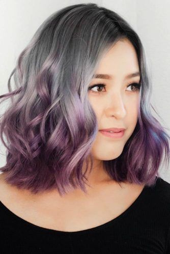 Grey With Purple #ombre #shorthair