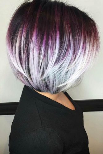 From Purple To White Style #shortombrehair #ombrehair #shorthair #bobhaircut #straighthair