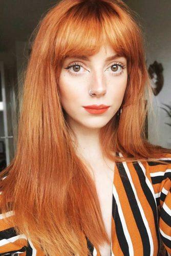 Red Copper Shade #redhair #bangs #longhair