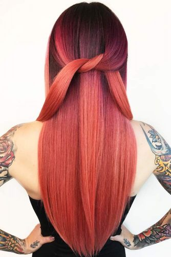 Black To Red Ombre #redhair #brunette #ombre