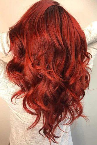 Saturated Ruby Red Hair Color #redhair #wavyhair #longhair