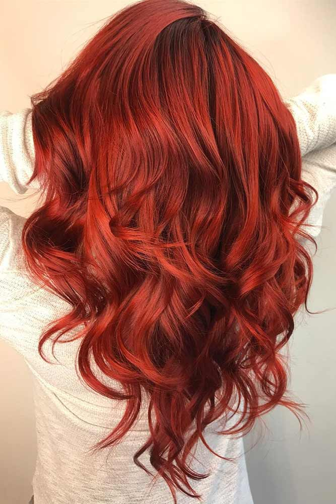 Saturated Ruby Red Hair Color #redhair #wavyhair #longhair
