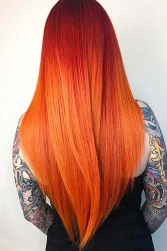 Red-To-Orange Ombre Hair #redhair #longhair #layeredhair #balayage