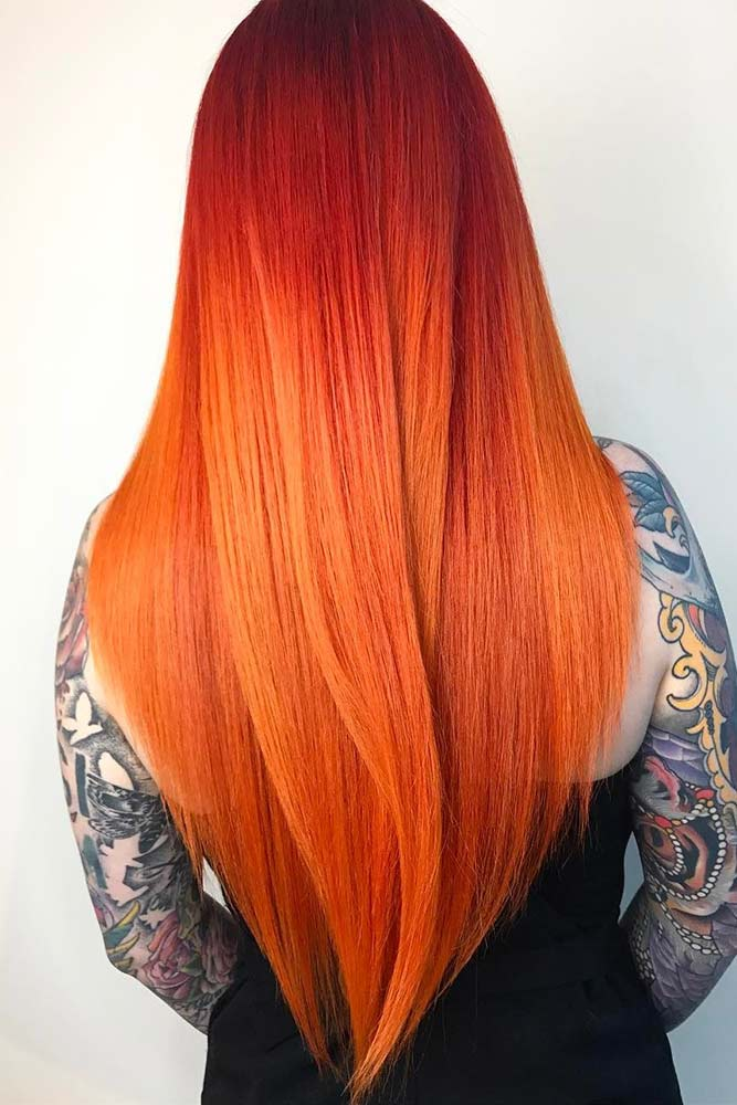 Red-To-Orange Ombre Hair #redhair #longhair #layeredhair #balayage