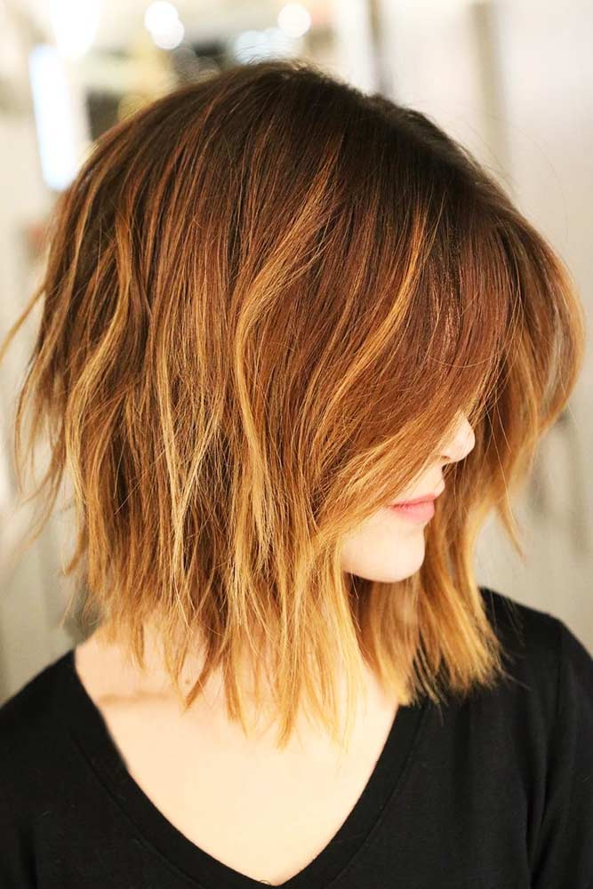 Effortless-looking Auburn Highlights #redhair #bob #shorthair #highlights