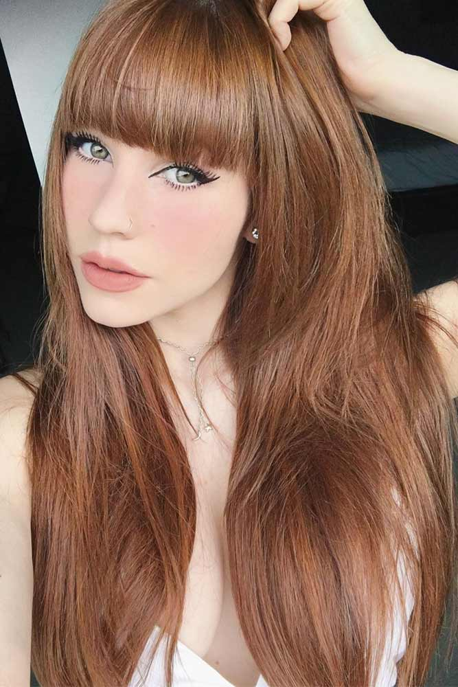 Pale Auburn Hair Color #redhair #bangs #longhair