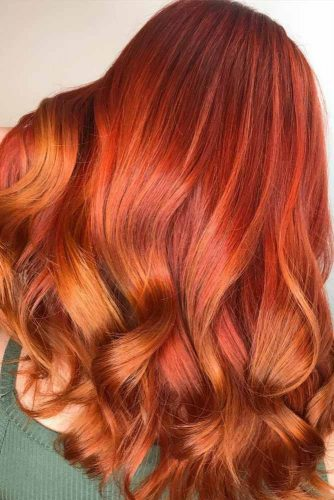 Golden Copper Highlights #redhair #wavyhair #highlights