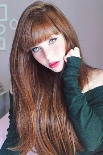 Pale Auburn Color #longhair #redhair #bangs
