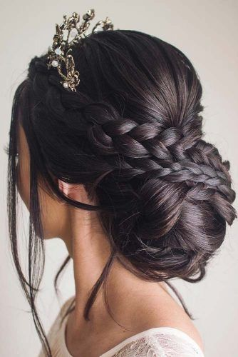 Crown Braid With Bun #weddinghair #braids #updo