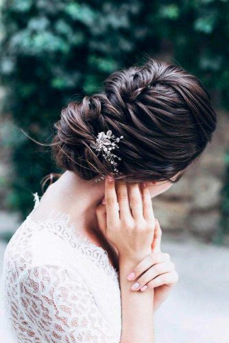 Simple Braided Bun For Elegant Look #bun #lowbun #updo #bridalaccessory