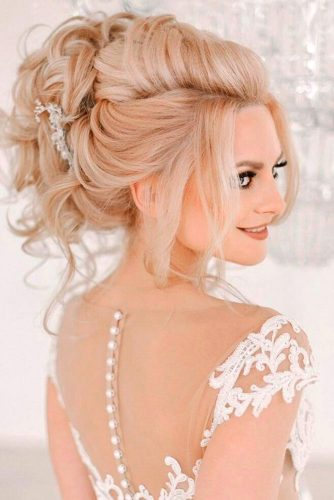 Extremely High Swept Back Wedding Hairstyle #updo #bridalaccessory #curlyhair
