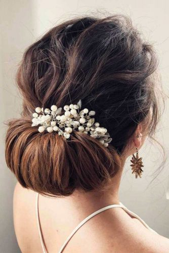 Wedding Updo With Pearls #updo #lowbun #bridalaccessory