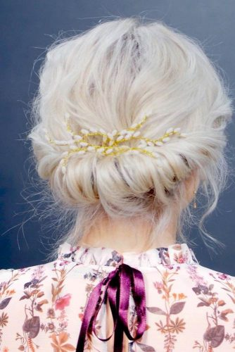 Elegant Swept Back Low Hairdos For Short Hair #blonde #updo #bridalaccessory