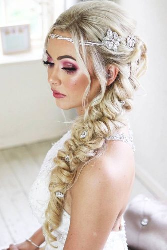 Long Braid With Hair Accessories #braids #weddinghairstyle
