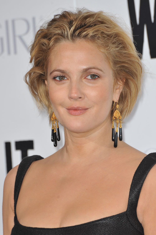 Drew Barrymore Slicked Back Short Wavy Hair