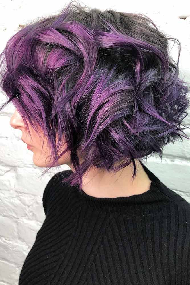 Saturated Layered Waves #shortwavyhair #wavyhair #shorthair #bobhaircut #purplehair